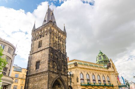 Municipal House and Powder Tower (Prasna brana) gothic tower of the old city gates in Old Town Prague (Stare Mesto) historical city centre, Bohemia, Czech Republic Reklamní fotografie