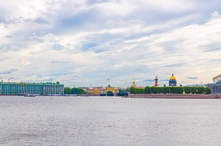 Cityscape of Saint Petersburg Leningrad city, Winter Palace, State Hermitage Museum, Palace Bridge across Neva river, Saint Isaac's Cathedral, Arrow of Vasilyevsky Island, Rostral Columns, Russia Stock Photo