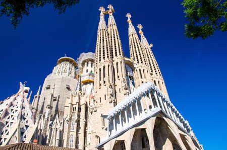 Barcelona, Spain - June 11, 2017: Cathedral of La Sagrada Familia designed by architect Antonio Gaudi, Catalonia