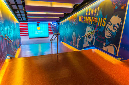 Barcelona, Spain, March 14, 2019: players tunnel entrance of Camp Nou stadium. Nou Camp is the home stadium of football club Barcelona, the largest stadium in Spain.