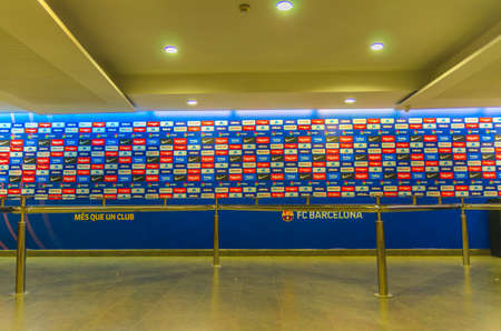 Barcelona, Spain, March 14, 2019: flash interview zone of Camp Nou stadium. Nou Camp is the home stadium of football club Barcelona, the largest stadium in Spain.
