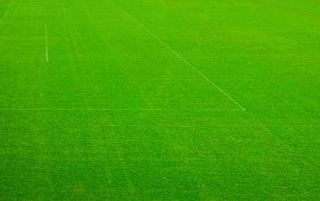 Top aerial view of football pitch soccer field with green grass lawn, pattern texture, white marking stripes at sports stadium Фото со стока