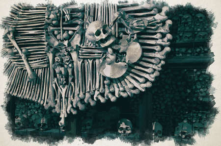 Watercolor drawing of Royal coat of arms made of human bones and skulls with pile of skulls background. Kostnice Church in Kutna Hora. Фото со стока