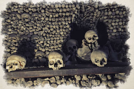 Watercolor drawing of Human bones and skulls. Row of skulls. Skulls collection. Symbol of death, fear and evil. Kostnice Church in Kutna Hora. Фото со стока