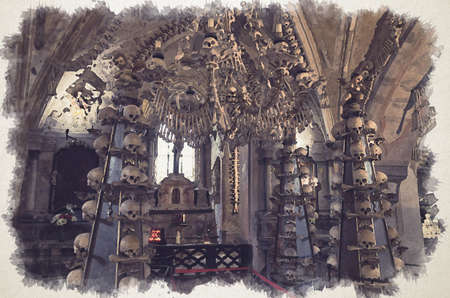 Watercolor drawing of Room with colonnade of human bones and skulls. Bony lustre hang rom ceiling. Altar with crucifixion of Jesus Christ in Kostnice Church Фото со стока