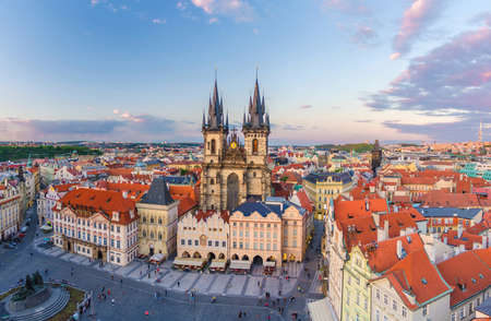 Panorama of Prague Old Town historical centre Stare Mesto Old Town Square Staromestske namesti with Gothic Church of Our Lady before Tyn. Aerial panoramic view of Prague city, Czech Republic