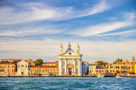 Chiesa di Santa Maria del Rosario church on embankment of Fondamenta Zattere Ai Gesuati in Venice city historical center Dorsoduro sestiere, view from water of Giudecca canal, Veneto Region, Italy 版權商用圖片