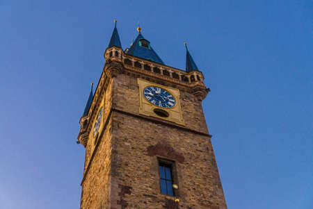 Clear blue sky of Prague, Main tower of the Old Town Hall, City Hall is made in Gothic Style, Prague chimes, observation deck of The Old Town Square Stare Mesto, Bohemia, Czech Republic