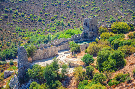 Saint Hilarion Castle medieval building with stone walls and tower in Kyrenia Girne mountains, Northern Cyprus