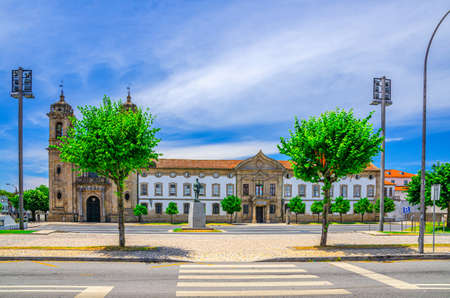 Igreja do Populo catholic church neoclassical building and Convento do Populo monastery in Braga city historical centre, blue sky white clouds background, Norte or Northern Portugal