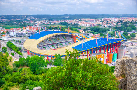 Leiria, Portugal, June 22, 2017: Estadio Dr. Magalhaes Pessoa football stadium building top aerial view 新闻类图片