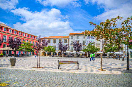 Leiria, Portugal, June 22, 2017: Praca Rodrigues Lobo square with typical traditional buildings and houses in Leiria city historical center