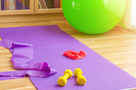 Sports equipment on floor in living room, violet yoga mat, yellow dumbbells, red rubber resistance band and green rubber fitness aerobic ball, bookcase background, home workout concept 免版税图像