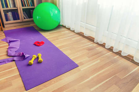 Sports equipment on floor in living room, violet yoga mat, yellow dumbbells, red rubber resistance band and green rubber fitness aerobic ball, bookcase near window background, home workout concept 免版税图像