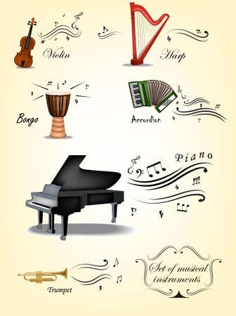 arpa: Vintage set de instrumentos musicales y elementos Vectores