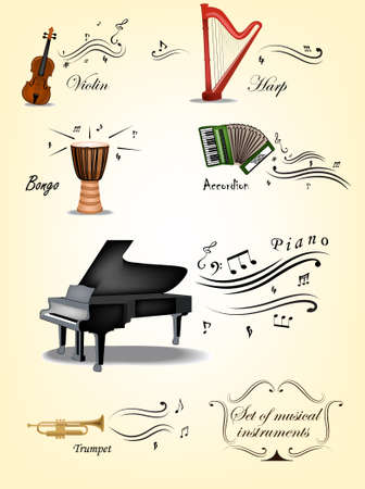 Vintage set of music instruments and elements Illustration