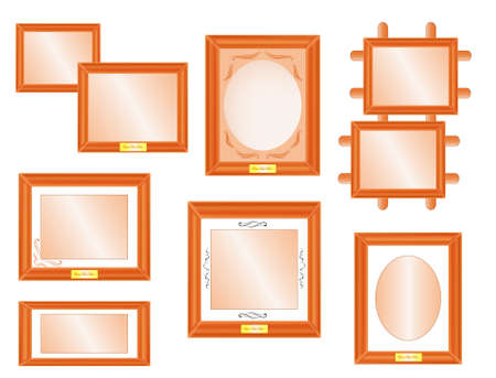 Set of wooden vintage frames Stock Vector - 16732833
