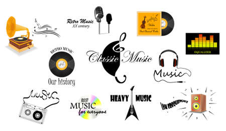 Set of music labels Vector