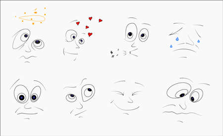 Set of funny faces