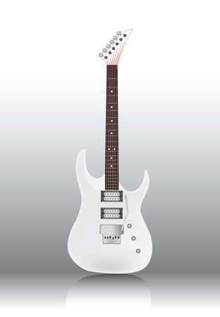 Photorealistic white guitar - vector illustration