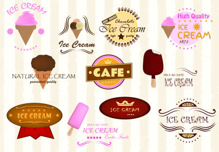gelato: Labels of ice cream Illustration