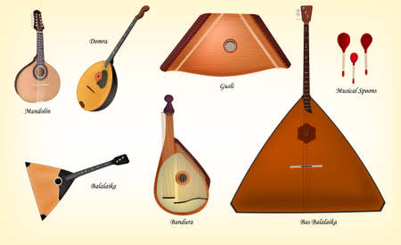 Nice collection of russian native musical instruments