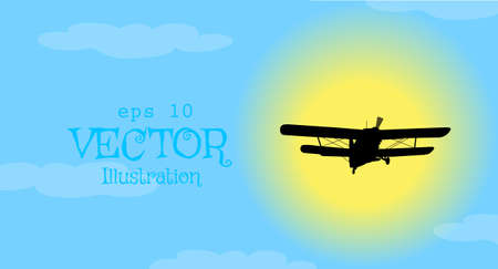 Vector background  airplane on blue sky Illustration
