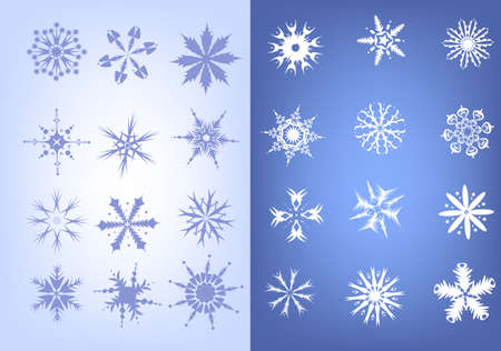 Nice collection of blue and white snowflakes Stock Vector - 16915804