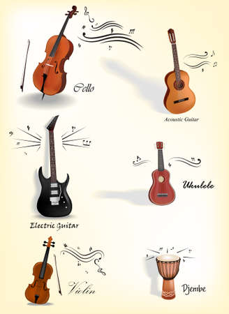 acoustic ukulele: Vector Collection of music instruments