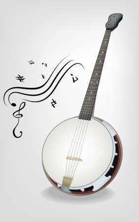 frets: Nativo americano instrumento musical - banjo Vectores