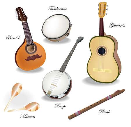 pandero: Vrctor clipart - musival colección de instrumentos. Resumen de antecedentes