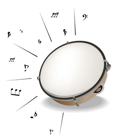 tambourine: Vrctor clipart - musival instrument. Abstract background Illustration