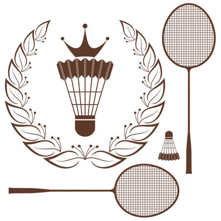 badminton racket: Badminton Illustration