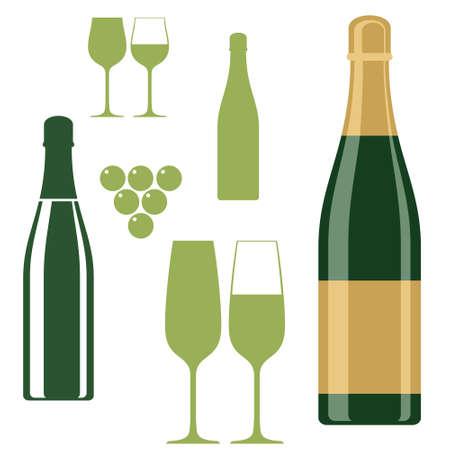 bouteille champagne: Bouteille de champagne n verres Illustration
