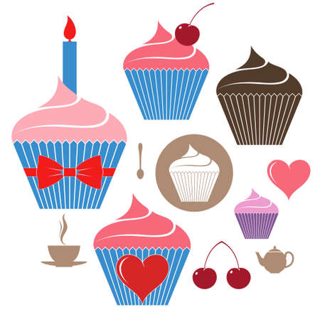 Birthday cake. Icon set Vector