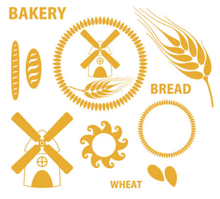 flour mill: Bakery  Bread adn Wheat illustration