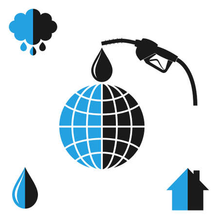 petroleum blue: Environment pollution. Oil industry Illustration