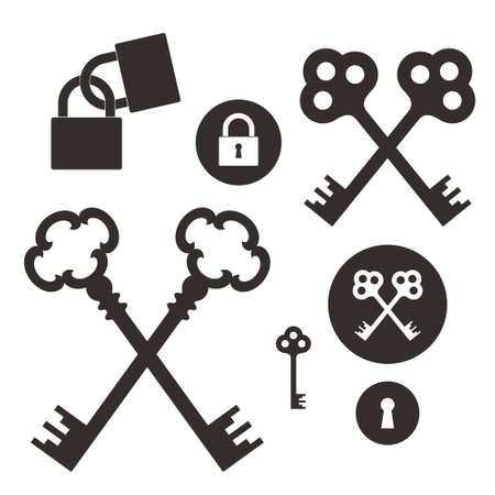 antique key: Key Lock Icon set