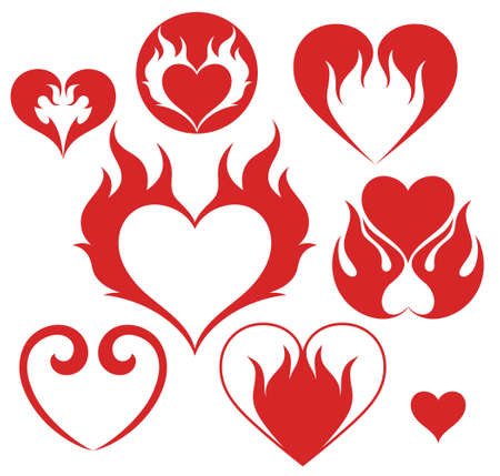 red love heart with flames: Heart. Fire