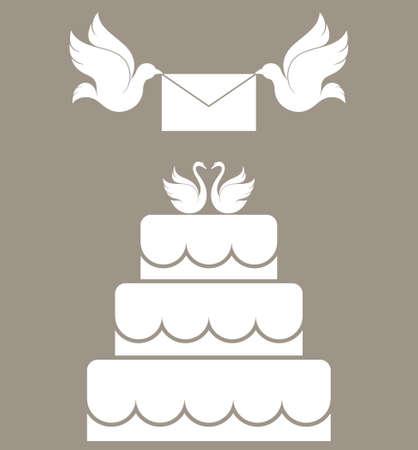 pastel de bodas: Pastel de boda Vectores