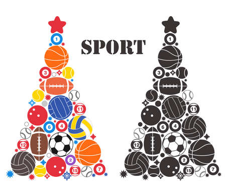 sports balls: Unusual Christmas Tree. Sport Illustration