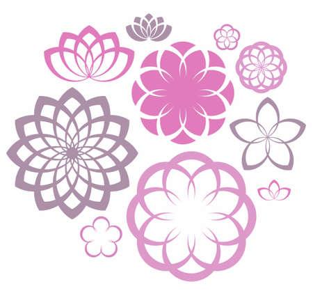 flor loto: Flor. Icon Set