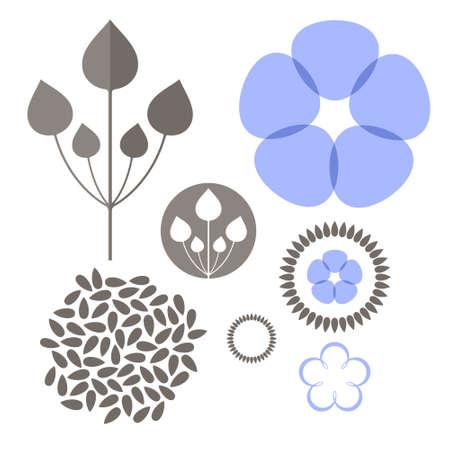 亜麻。セット  イラスト・ベクター素材