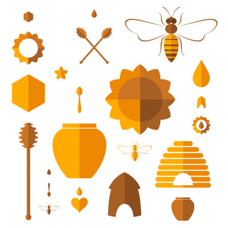 Honey. Icon set Vector