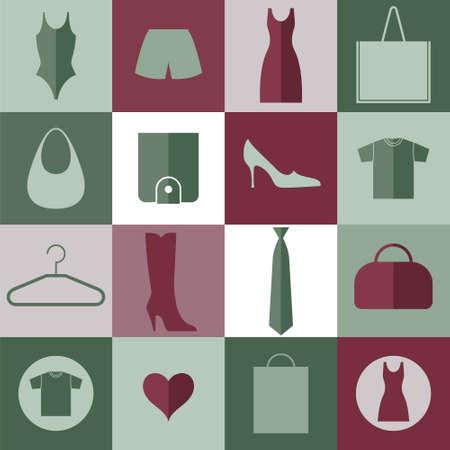 Clothes. Icon Set Vector