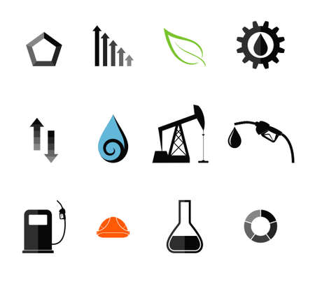 Oil Industry. Icon Set Vector