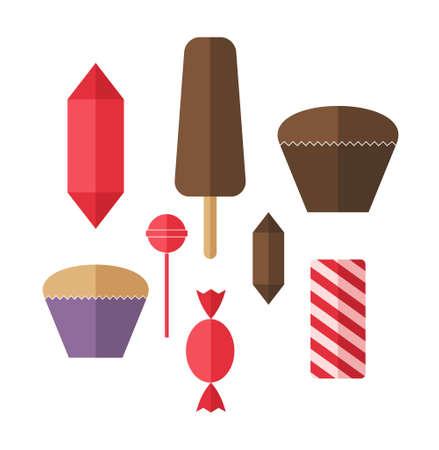 甘い食べ物: 甘い食べ物。アイコンを設定します。キャンディ  イラスト・ベクター素材