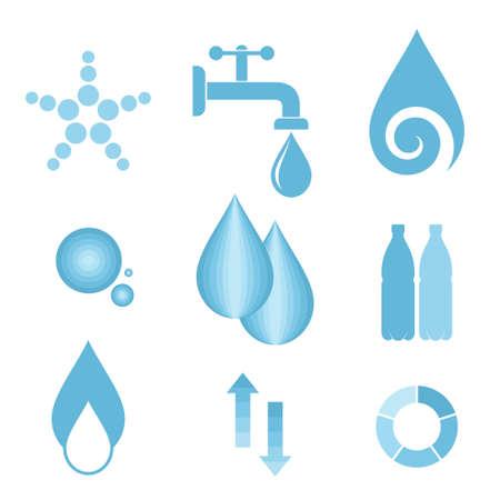 blue logo: Water. Icon set