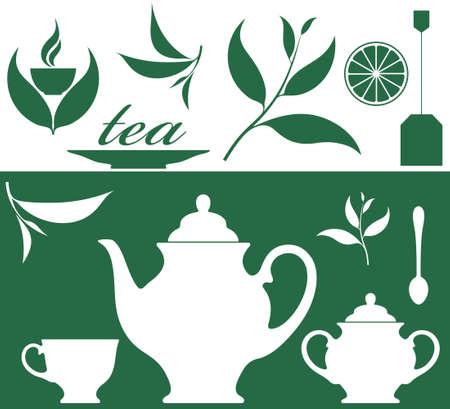 tazza di te: Tè. Set Vettoriali