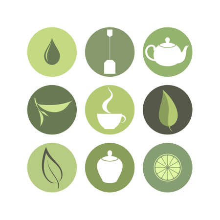 green tea leaf: Tea. Icon set